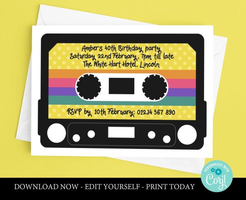 80 s theme birthday invitations