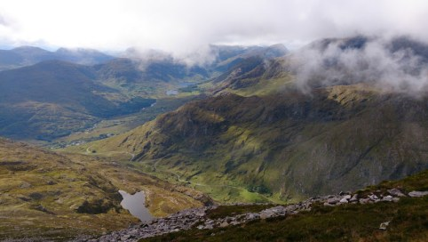 Looking south from Purple Mountain towards the Black Valley, with the Gap of Dunloe below.