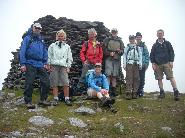 Lorraine with fellow backpackers on Hungry Hill in June 2010