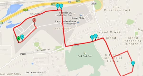Cork BHAA Mahers Sports 6k Road Race Map