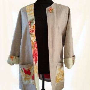 Sand grey linen jacket with facings and pockets made from recycled fabric