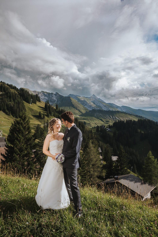 Paarfotos Hochzeit Berge Schweiz