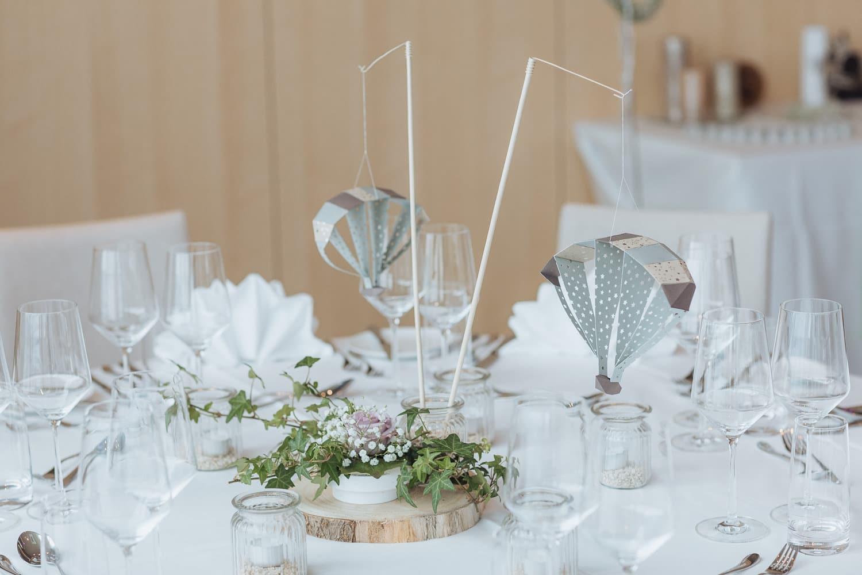 Tischdekoration Hochzeit Gleitschirm