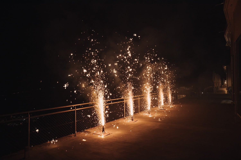 Feuerwerk Effekt Brautpaar Nacht