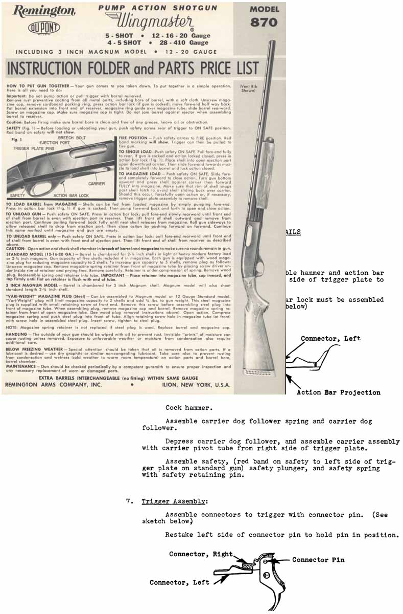 hight resolution of  remington model 870 field manual introduced in 1949