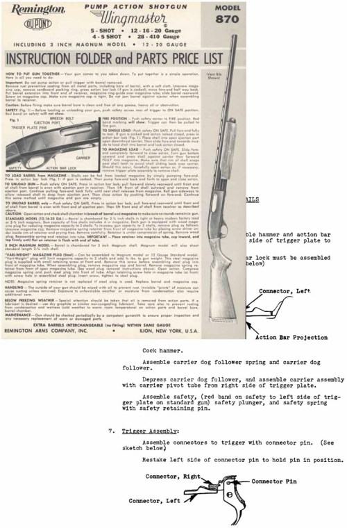 small resolution of  remington model 870 field manual introduced in 1949
