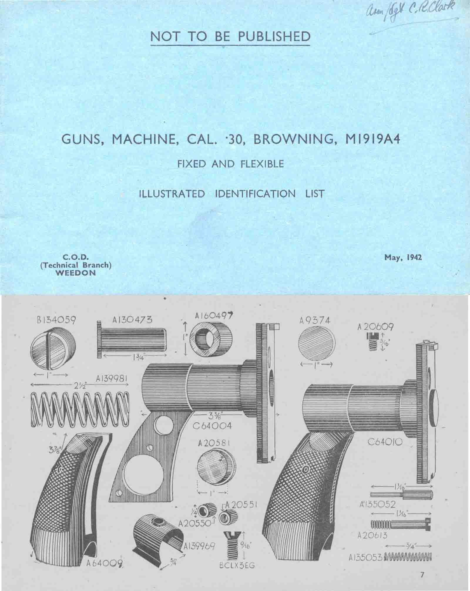 hight resolution of  browning 1942 m1919a4 mg illustrated parts list uk manual