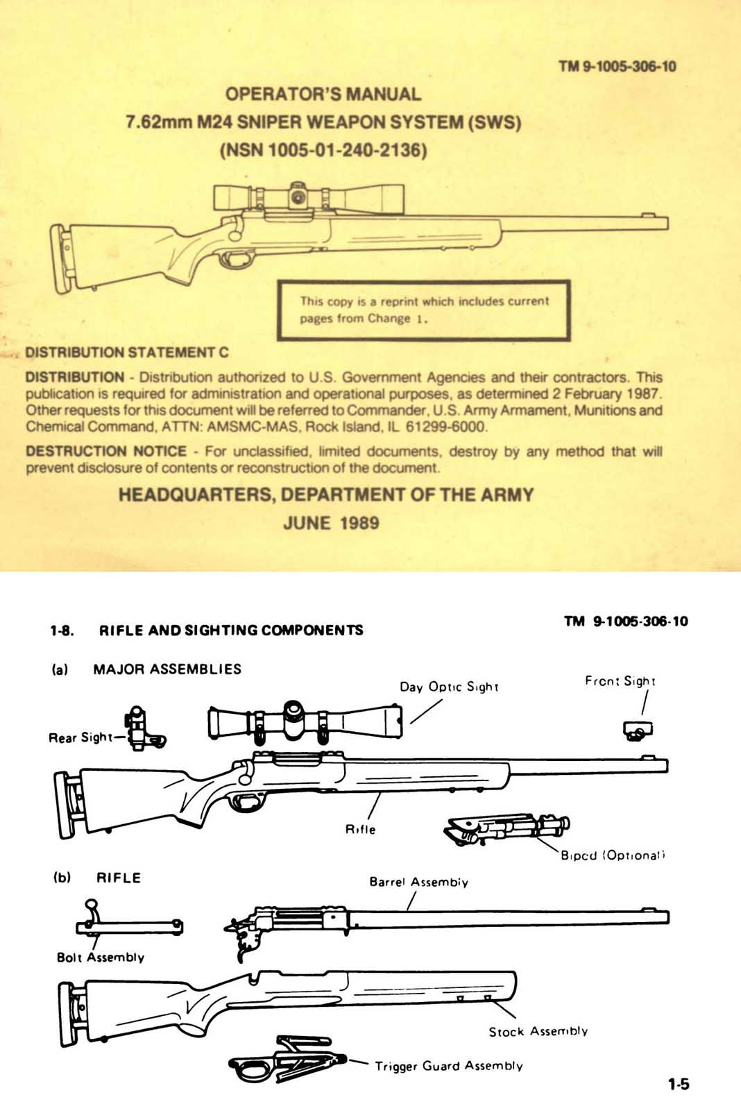 hight resolution of  m 24 operators manual 1989 sniper weapons system sws 7 62mm