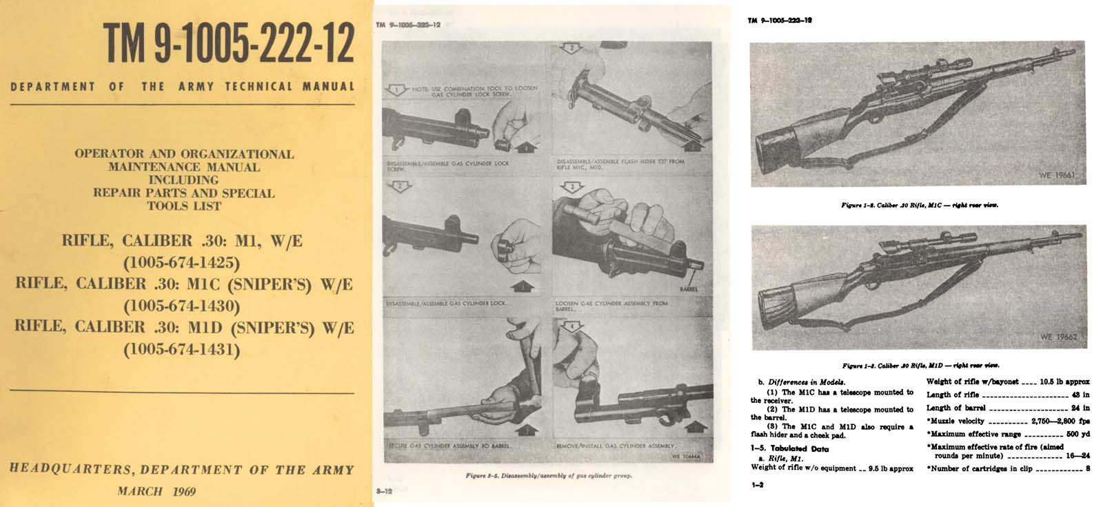 hight resolution of  m1c m1d rifle snipers operator maint manual