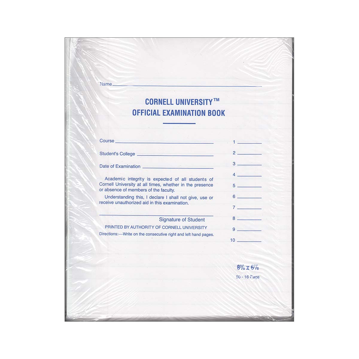 Book Exam Ruled 16 Page 50/Pk Blue Book