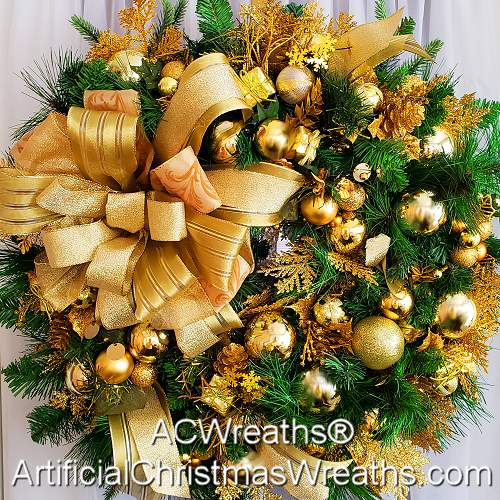 golden splendor christmas wreath