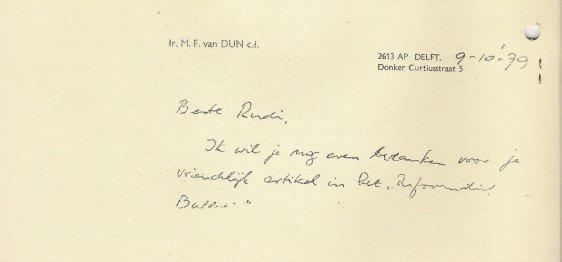 Bedankbriefje van Van Dun