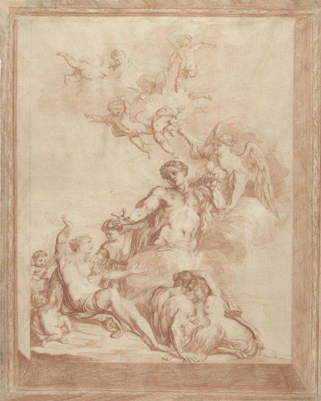 Mattheüs Terwesten (1670-1757), 'Hercules op de tweesprong', rood krijt, 636 × 514 mm, Rijksmuseum Amsterdam. [Afbeelding bij oorspronkelijke publicatie].