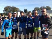 De équipe aan het begin van de trailloop, met Darius, Willem, Jaap, Edwin, Bouke en RHCdG