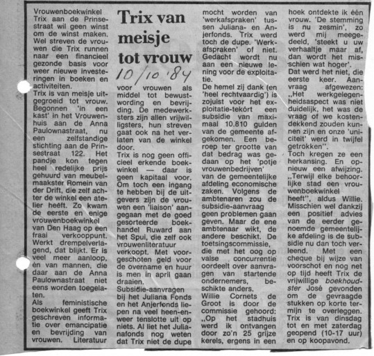Krantenartikel over boekwinkel Trix