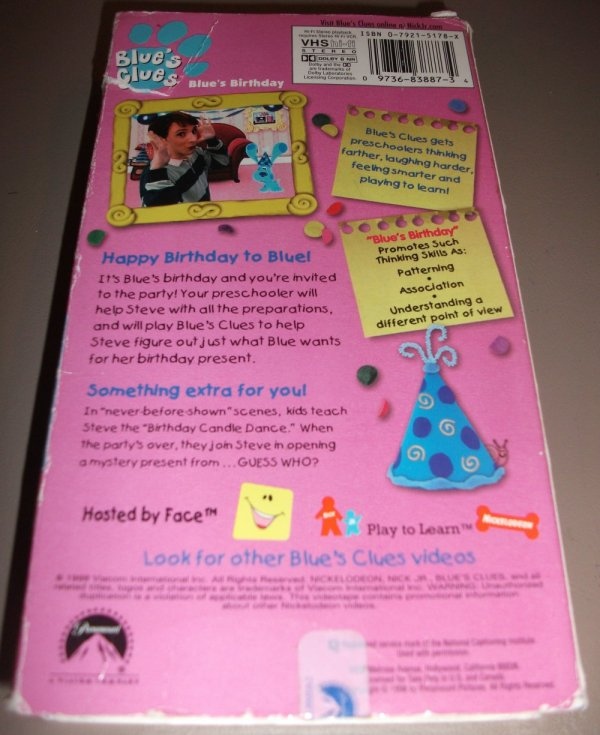 Blues Clues Blues Birthday Vhs Imgurl