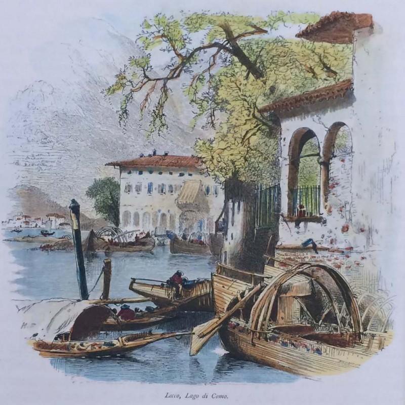 Stampa antica Lecco lago di Como