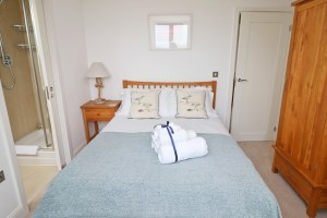 Pendarves Ocean Blue holiday apartment double bedroom