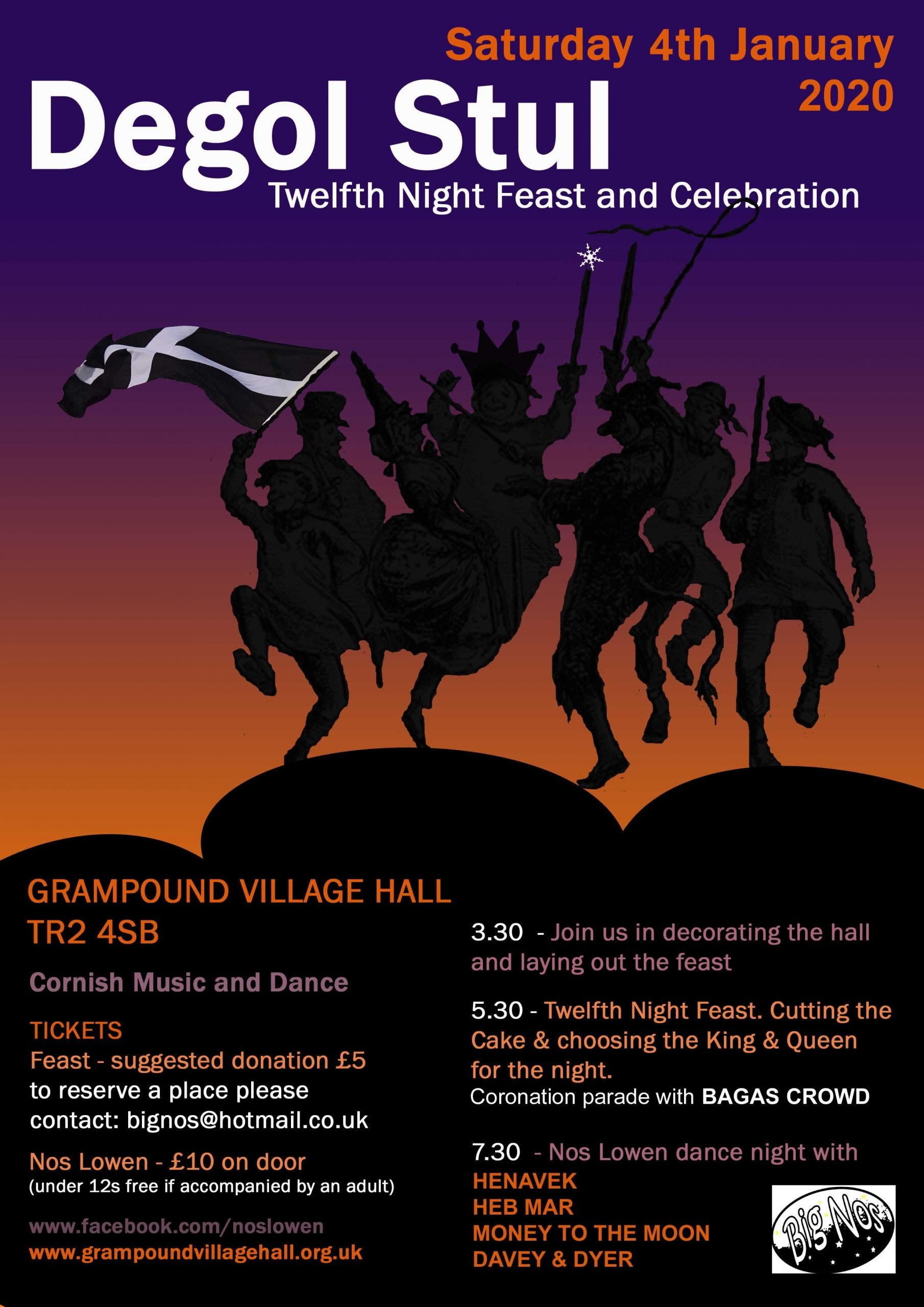 Poster for Degol Stul - Twelfth Night celebrations at Grampound Village Hall, 4 January 2019