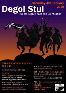 Poster for Degol Stul - Twelfth Night celebrations at Grampound Village Hall, 4 January 2019