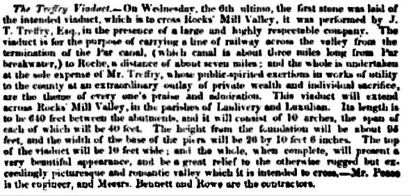 Engineer report 1839 J T Treffry