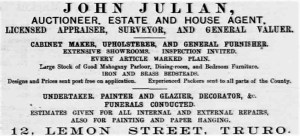 John Julian Advert - Cornishman 20th December 1883