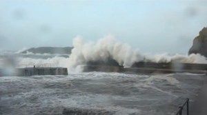 Mullion Harbour during a storm