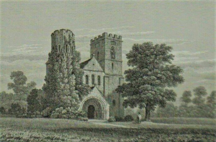 Engraving of St Germans Church 1824 - M Bond from drawing by F W L Stockdale