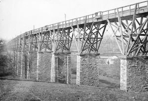 The Brunel stone and timber Moresk Viaduct also known as the Truro viaduct. It was replaced by a second stone viaduct built alongside which opened on the 14th February 1904