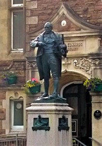 Richard Trevithick in front of Passmore Edwards Library Camborne