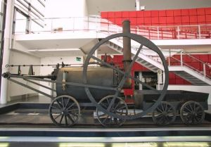 The replica locomotive in its present home, the National Waterfront Museum