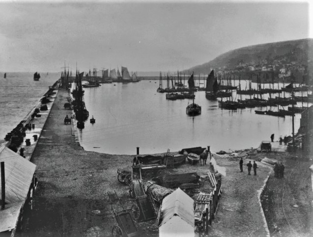 Newlyn Harbour c1880 - (Morrab Library)