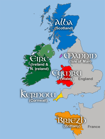 Map of the Celtic nations having their own languages