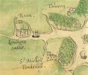 Ruan Lanihorne Castle on Boazio's map 1597