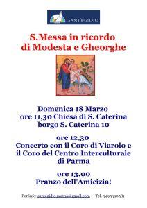 La locandina della S. Messa in ricordo di Modesta e Gheorghe, organizzata dalla Comunità di sant'Egidio, a cui abbiamo partecipato con un breve concerto.