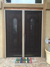 French door retractable screen doors in almond