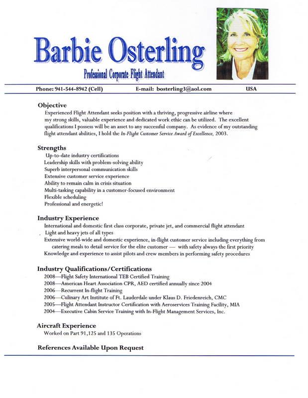 flight attendant resume example