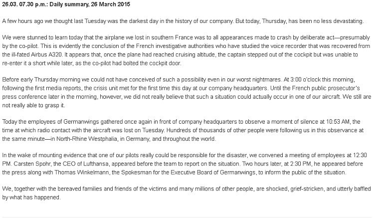 Germanwings online update