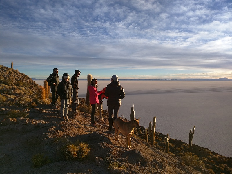 Watching the sunrise on Incahuasi island in the Salar de Uyuni