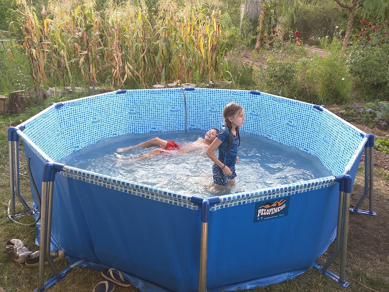 Hot and Humid in January - the kiddie pool