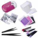 Kit de colle pour extension de cils: 1 mini ventilateur USB + 200 tampons de nettoyage + 100 brosses jetables + 100 x coton-tiges + 50 tampons oculaires en gel + 2x pincettes (courbes droites)