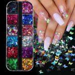 Novsix 12 couleurs/ensemble paillettes à ongles paillettes forme de papillon 3D paillettes nail art conseils charmes pour nail art/artisanat/maquillage