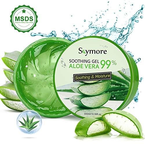 Skymore 300ml Gel d'Aloès, Aloe Vera Gel, Gel Hydratant, Apaisant Naturel et Hydratant Nourrissant, Gel d'Huile de Contrôle d'Acné, Produits de Soins de la Peau, Masque Aloe Vera, Peau Soin Naturel