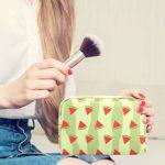 Trousse de maquillage Triangle inversé Pastèque Adorable Grand Maquillage Sacs de Voyage Trousse de toilette Organisateur