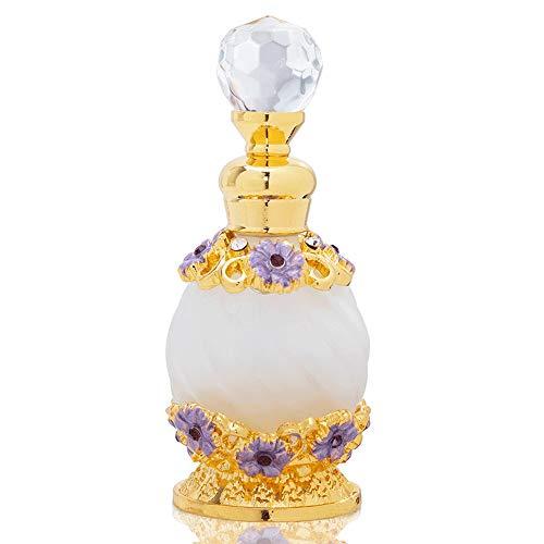 XWSH 15ml Fleur Pourpre Bouteille de Parfum Rechargeables Strass Bejeweled Maquillage Verre Vide Container Décoration de Cadeau de Lady
