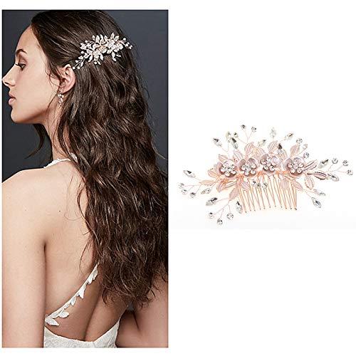 1 Pièces Strass Peignes à Cheveux pour Mariée, avec Motif Feuilles Florales, Fait à la main Peigne de mariage Strass Fleur Clip, Accessoires de Robe de Soirée, pour Femmes(Or Rose)