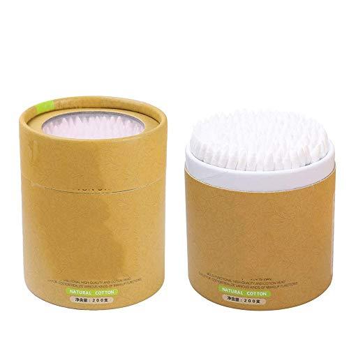 Bdesign Coton Bambou avec poignées en Bois for Le Maquillage Soin Propre Nettoyage des Oreilles Soins des plaies Outil cosmétiques à Double tête Biodégradable Eco Friendly (Deux Cases)