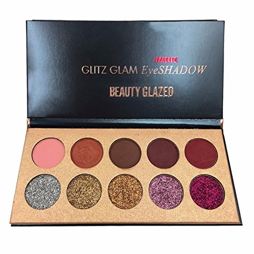 BEAUTY GLAZED Professionnel 10 Couleurs Beaute Glitter Palette de Ombre a Paupiere Eyeshadow Shimmer Fard a Paupiere Mat Brillant Maquillage