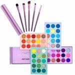 Kit de maquillage glacé de beauté, palette de fards à paupières 60 couleurs et ensemble de pinceaux de maquillage 5 pièces, palette de maquillage mat pailleté avec ensemble de pinceaux