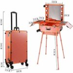 Maquillage Trolley Box , Portable Beauty Cosmetic Organizer Box with 6 Lights Trolley Artist Rolling Studio Makeup Case Table Station Professional Artist Trolley Speaker & Code Lock & full Screen
